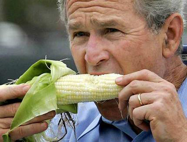 President Bush eating corn