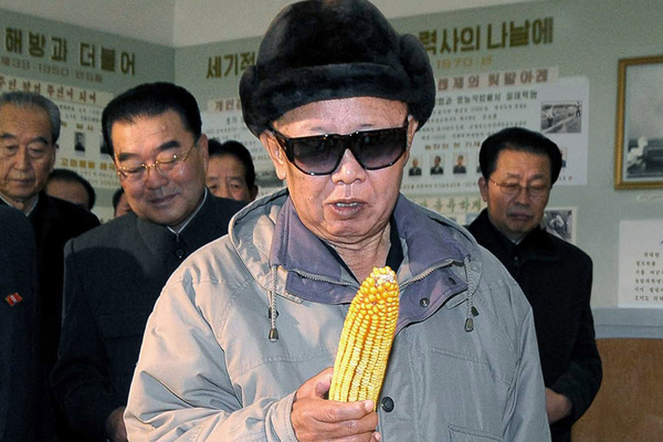 kim jong il looking at corn