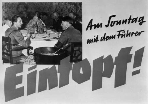 Propagandaplakat zum ersten Eintopf-Sonntag des Winterhilfswerks am 1. Oktober 1933